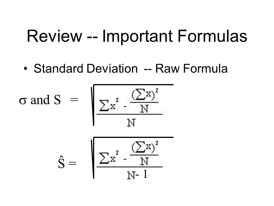 Formula Compute a standard deviation with the Raw-Score