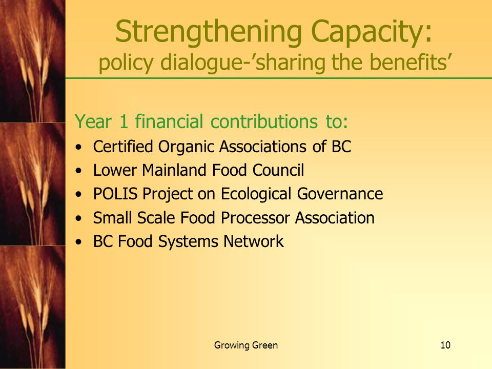 Strengthening Capacity: policy dialogue-'sharing the benefits'