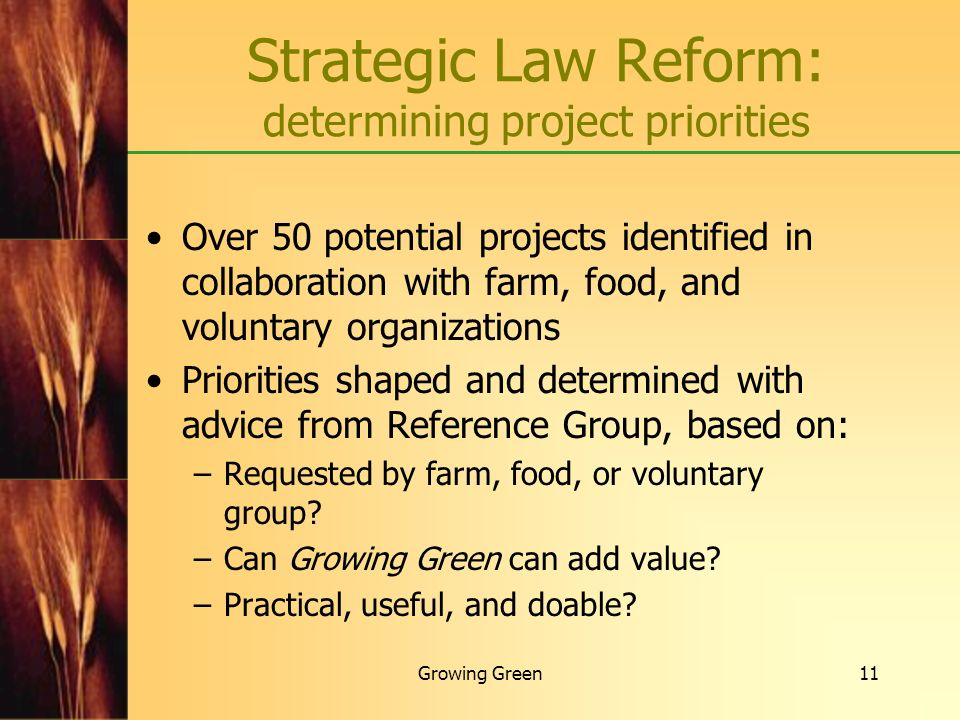 Strategic Law Reform: determining project priorities