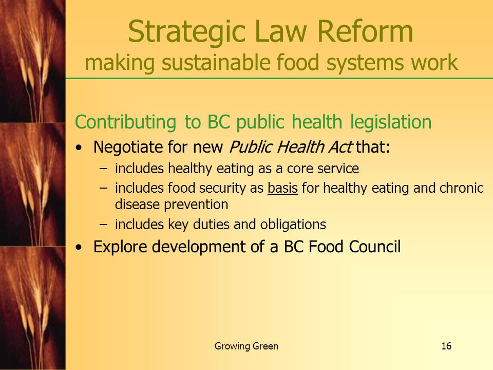 Strategic Law Reform making sustainable food systems work