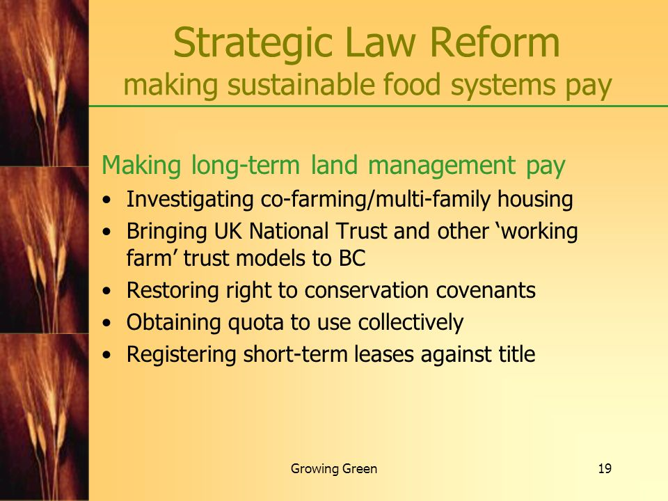 Strategic Law Reform making sustainable food systems pay