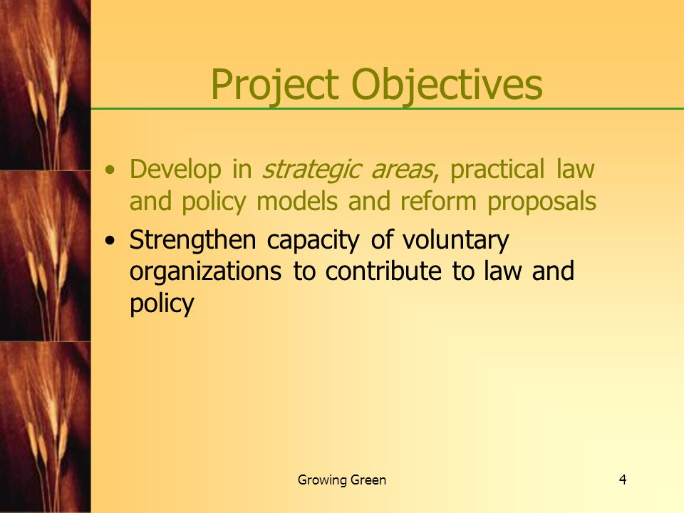 Project Objectives Develop in strategic areas, practical law and policy models and reform proposals.