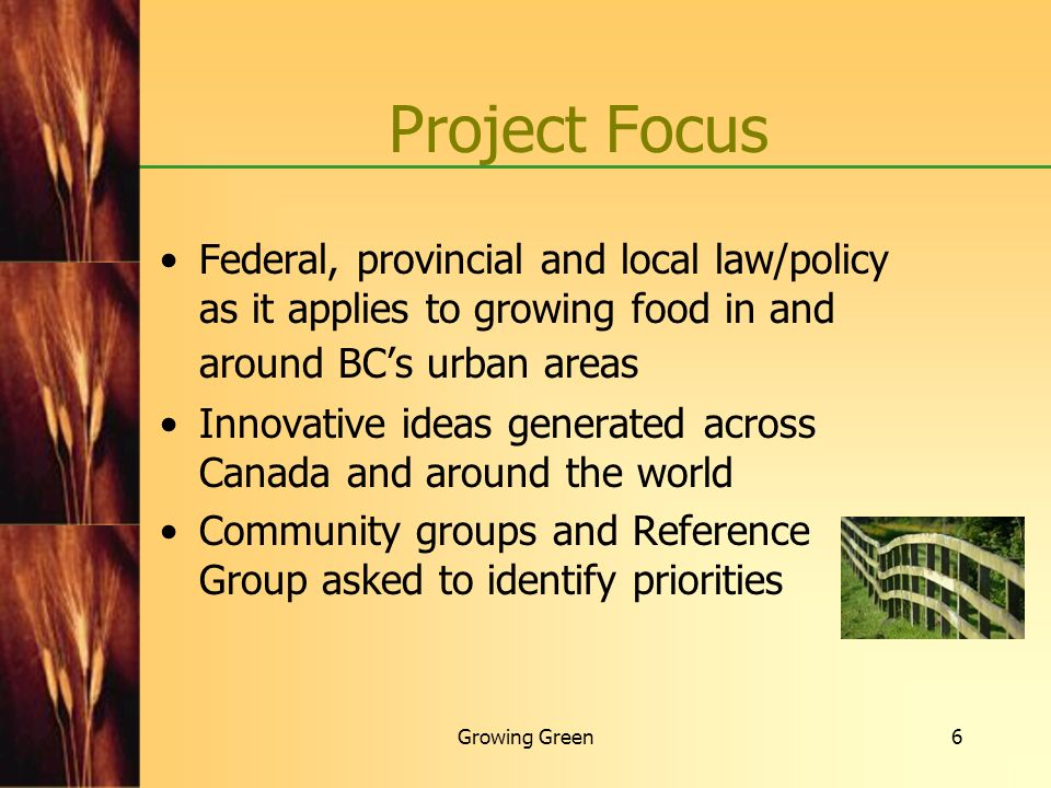 Project Focus Federal, provincial and local law/policy as it applies to growing food in and around BC's urban areas.