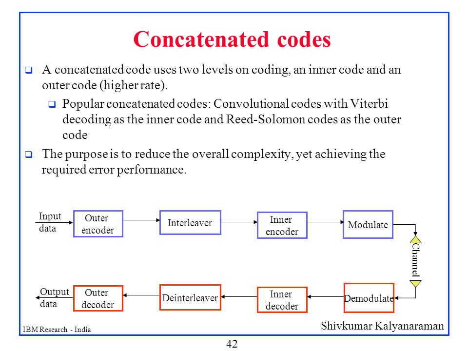Concatenated codes A concatenated code uses two levels on coding, an inner code and an outer code (higher rate).