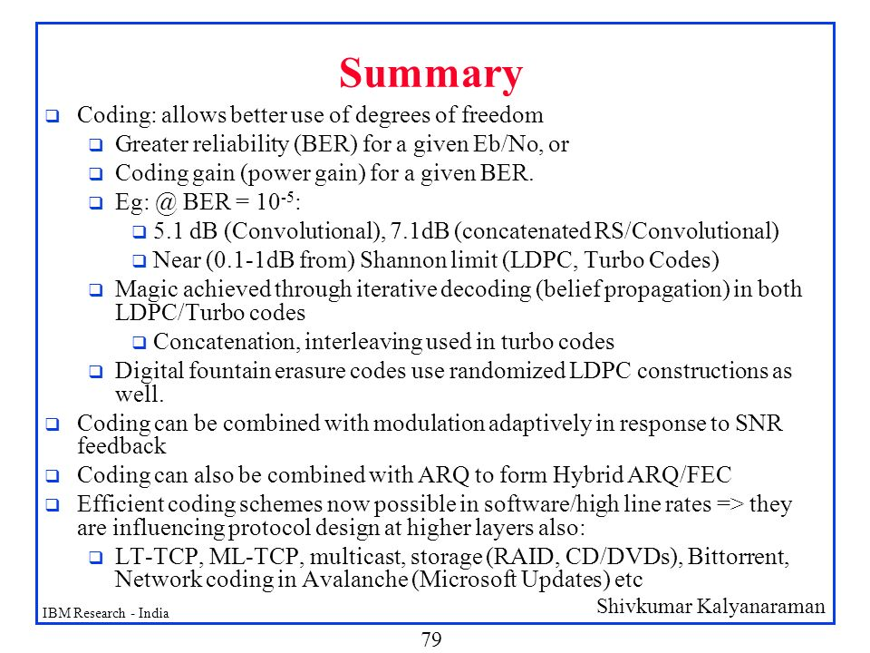 Summary Coding: allows better use of degrees of freedom