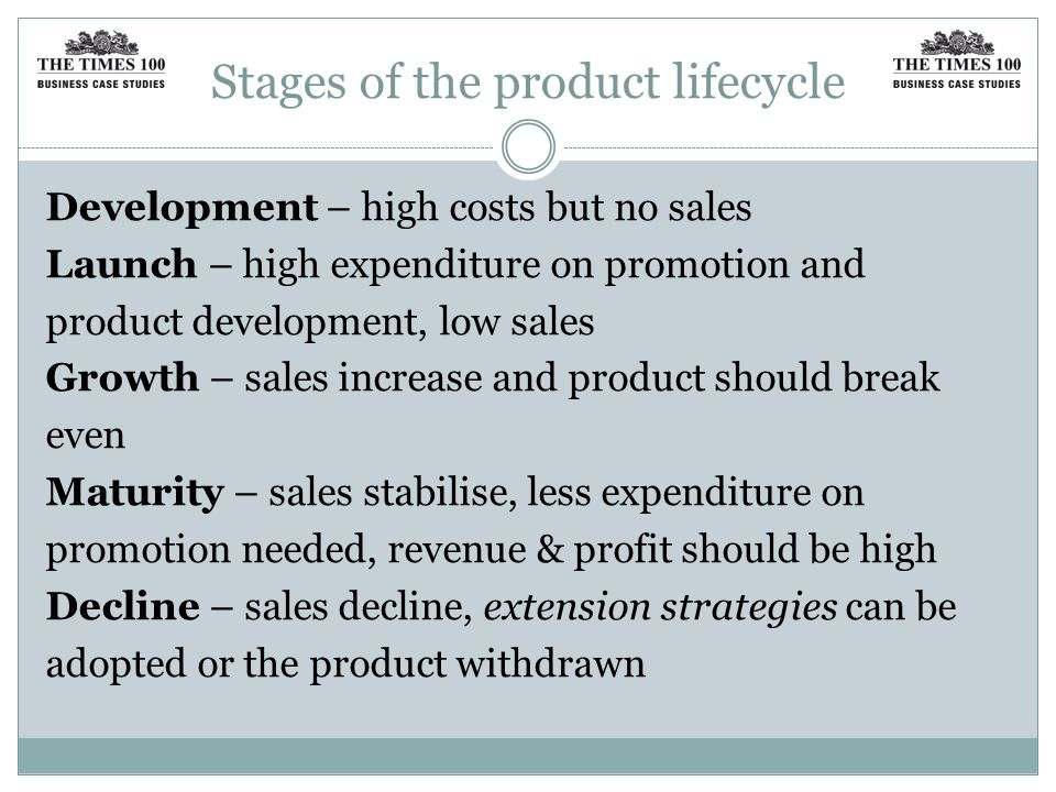 Stages of the product lifecycle