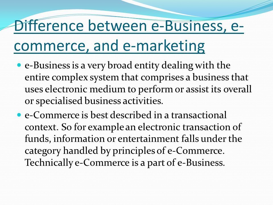 what is the difference between ecommerce and ebusiness