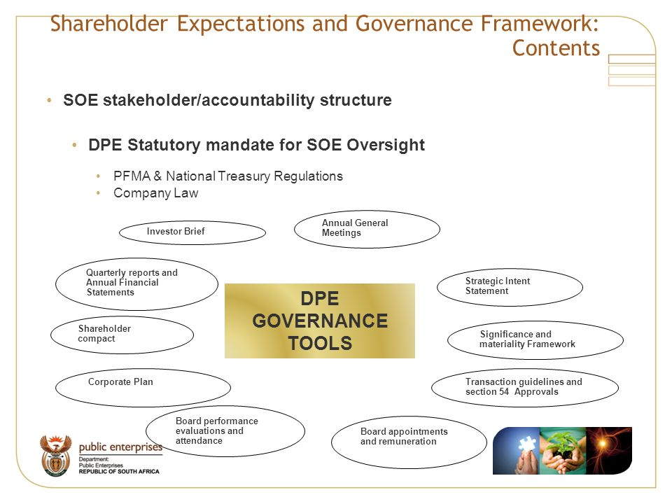 Shareholder Expectations and Governance Framework: Contents