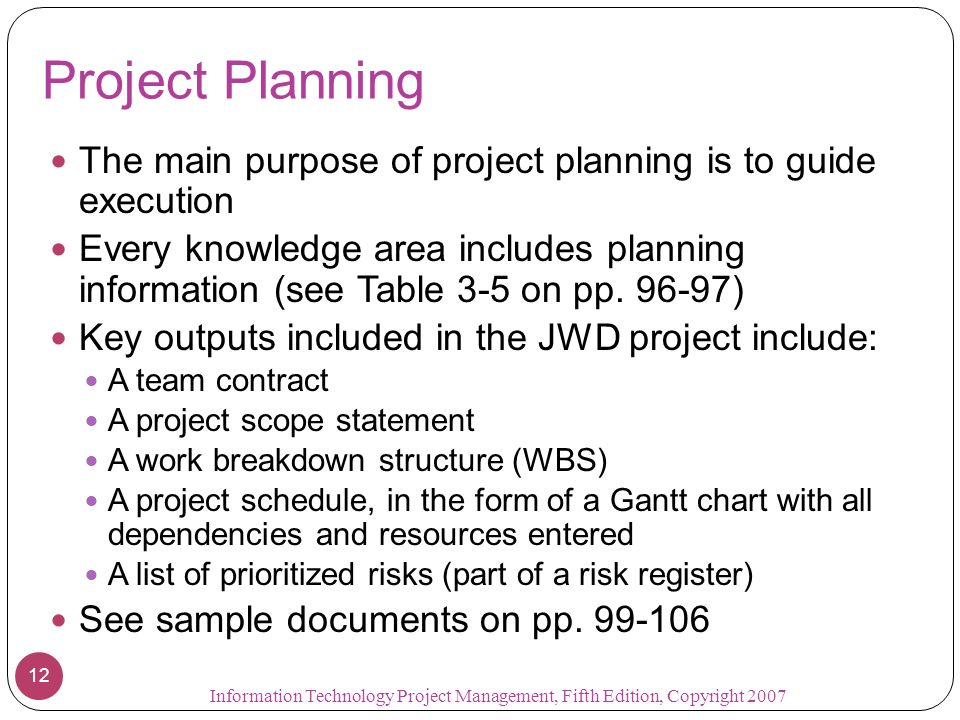 case study for project management chapter1 3 An approach to managing projects that includes an iterative workflow and incremental delivery of software in short iterations project management process groups the progression of project activities from initiation to planning, executing, monitoring and controlling, and closing.