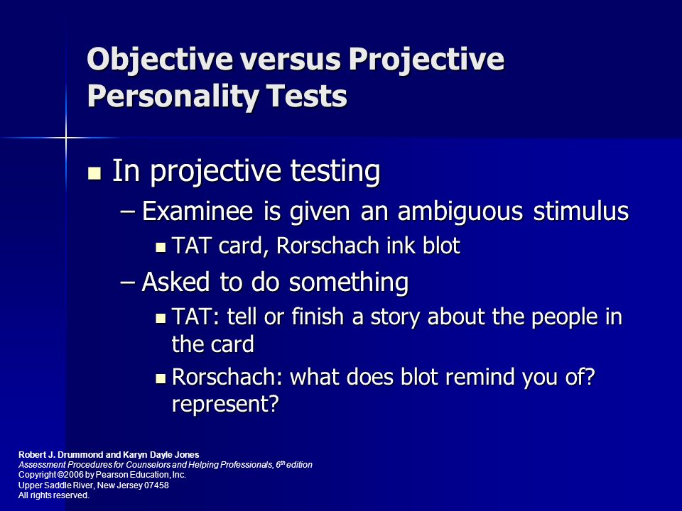 objective and projective tests