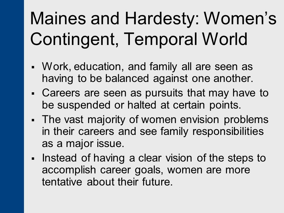 Maines and Hardesty: Women's Contingent, Temporal World
