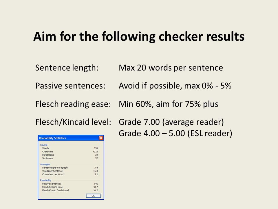 Aim for the following checker results