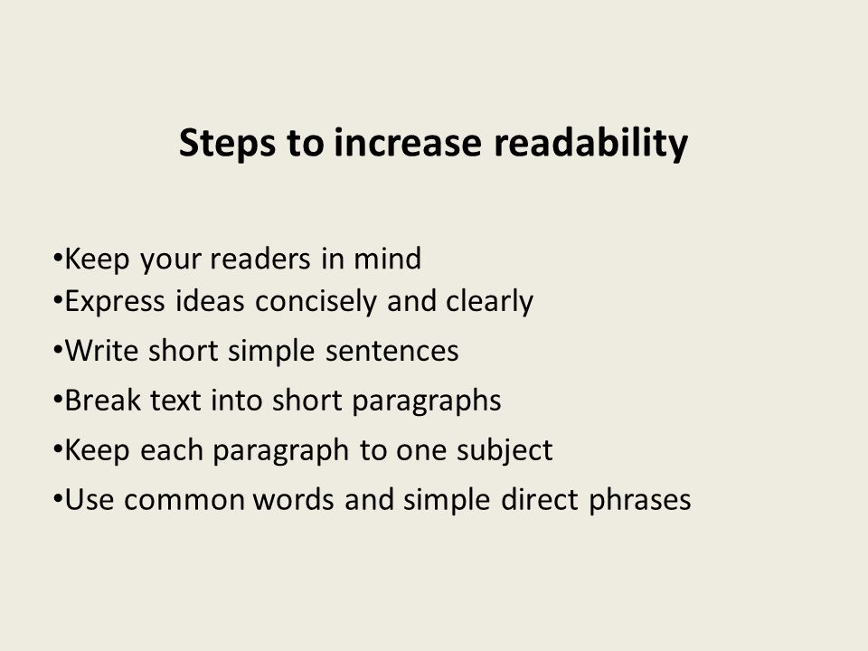 Steps to increase readability