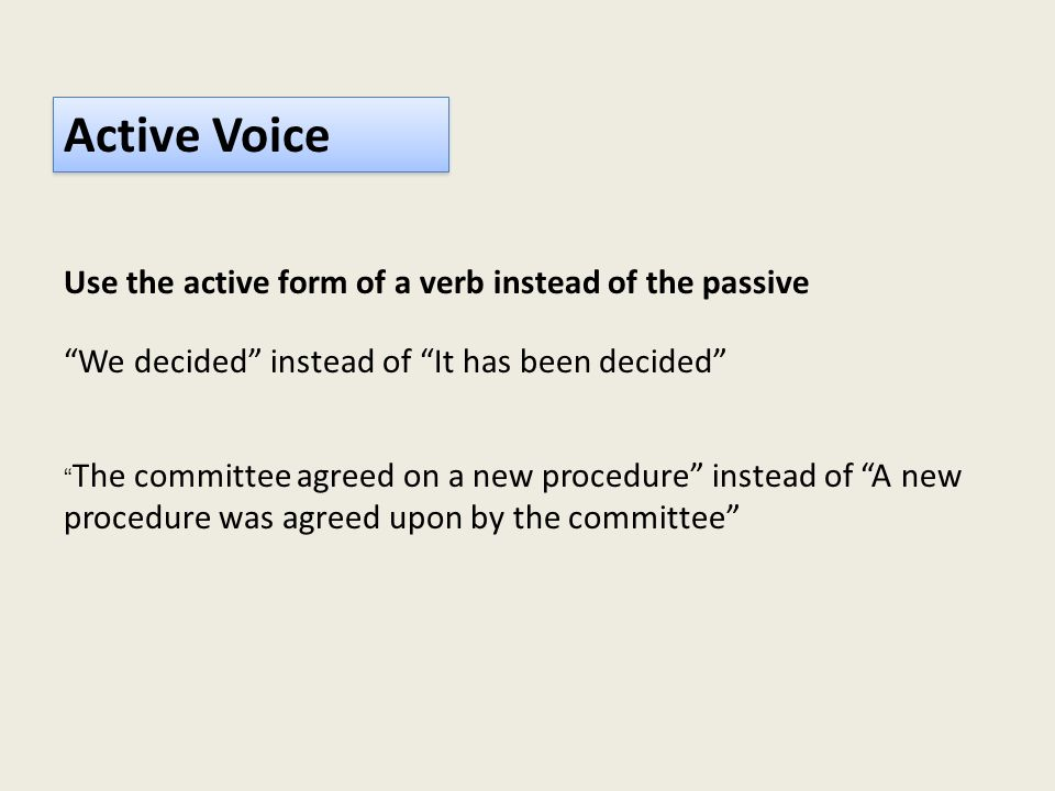 Active Voice Use the active form of a verb instead of the passive