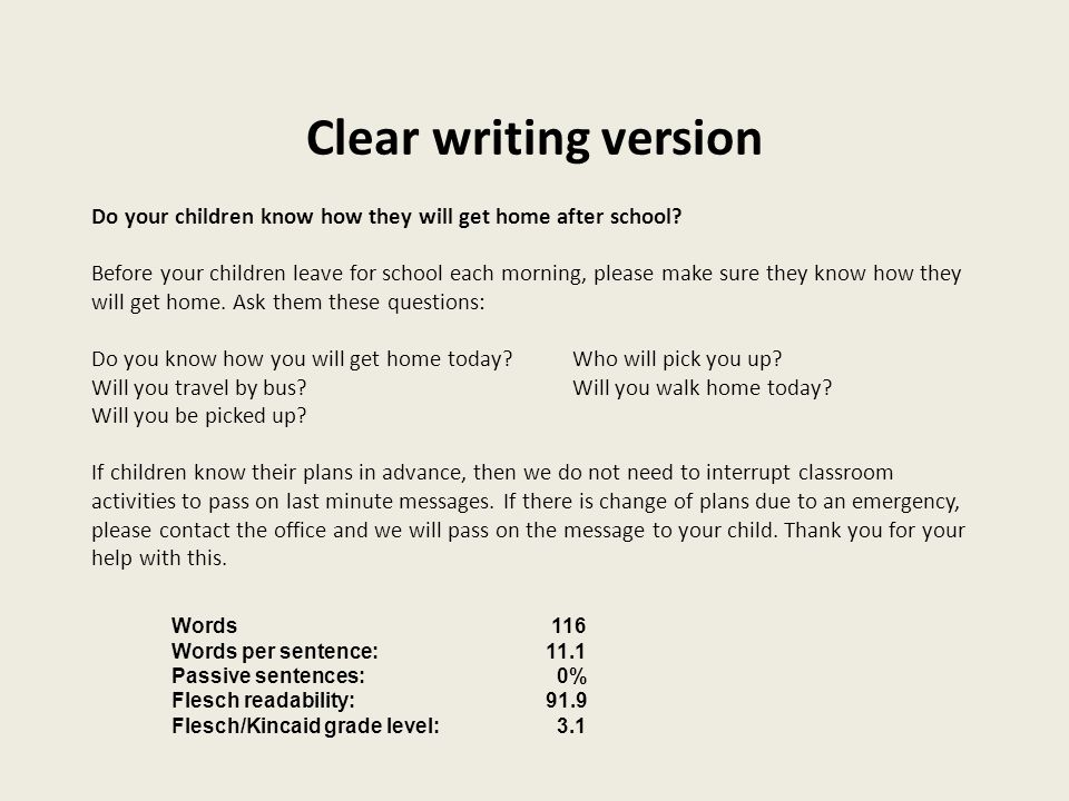 Clear writing version Do your children know how they will get home after school