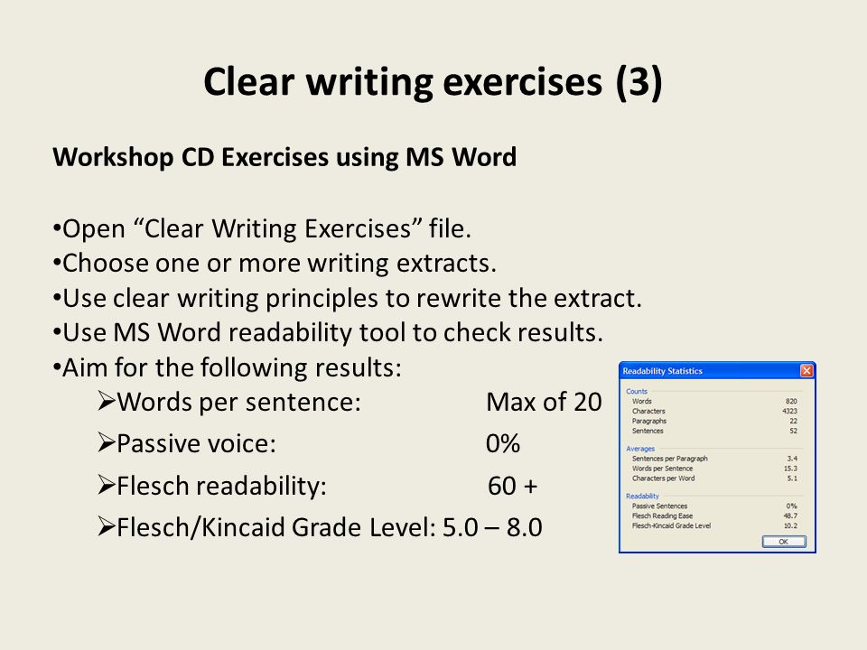 Clear writing exercises (3)