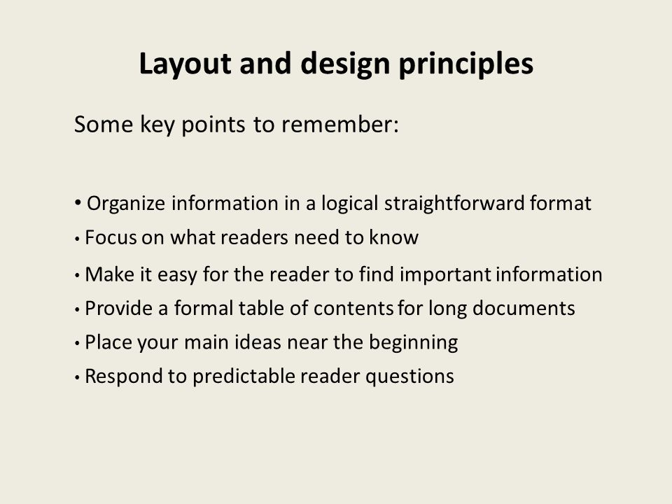 Layout and design principles