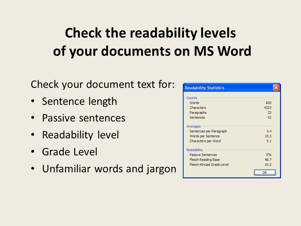 Check the readability levels of your documents on MS Word