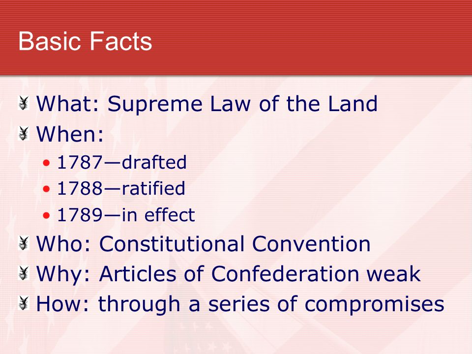 Basic Facts What: Supreme Law of the Land When: