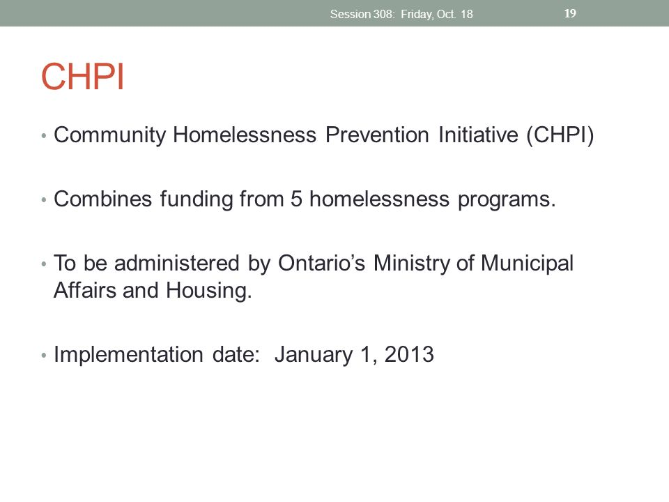CHPI Community Homelessness Prevention Initiative (CHPI)