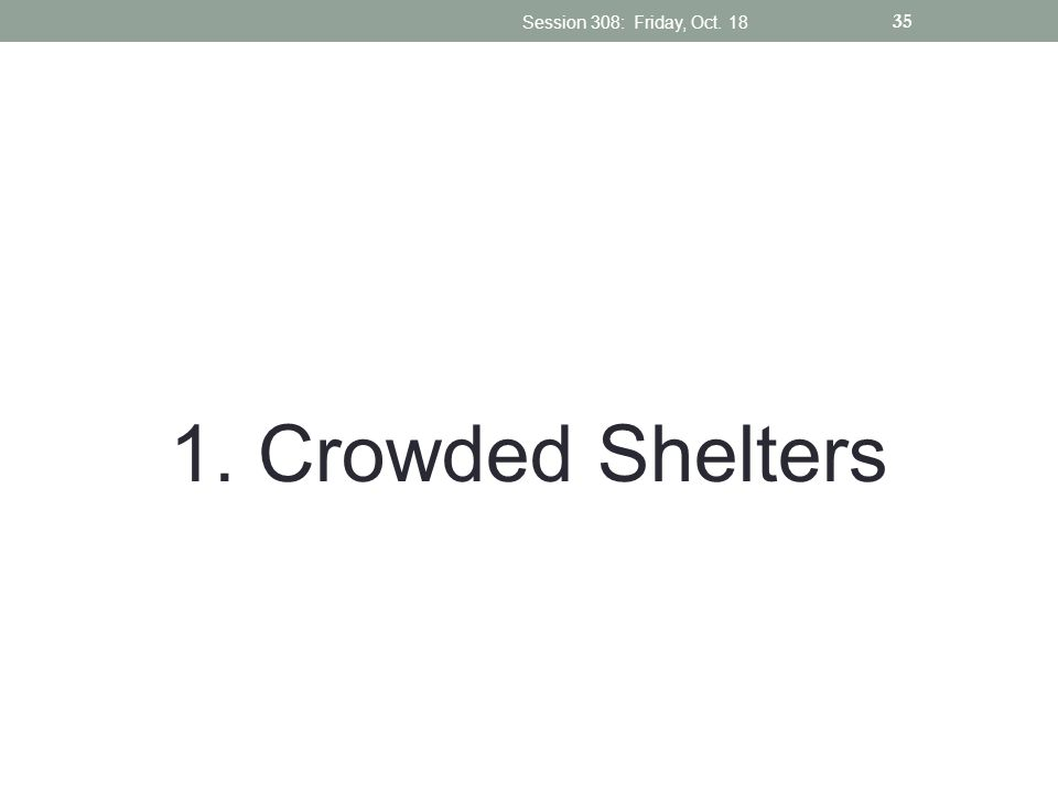 Session 308: Friday, Oct Crowded Shelters