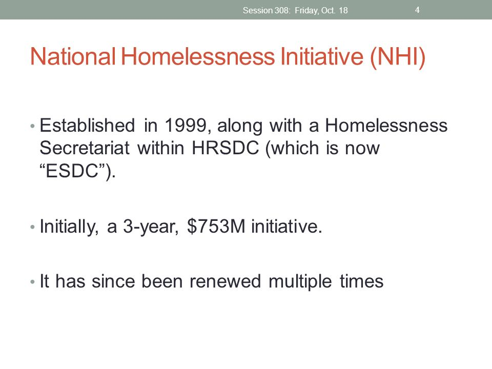 National Homelessness Initiative (NHI)