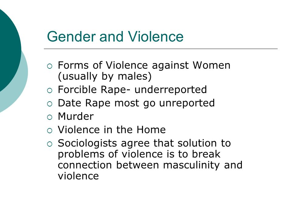 Gender and Violence Forms of Violence against Women (usually by males)