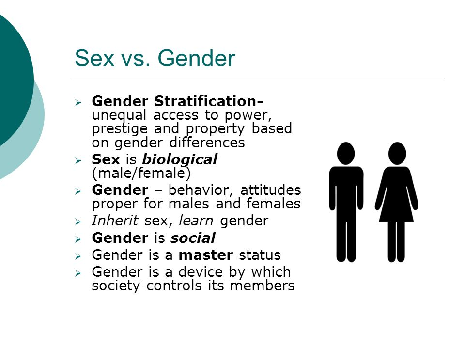 Sex vs. Gender Gender Stratification-unequal access to power, prestige and property based on gender differences.