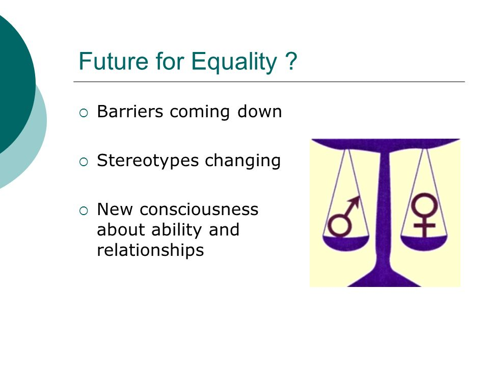 Future for Equality Barriers coming down Stereotypes changing