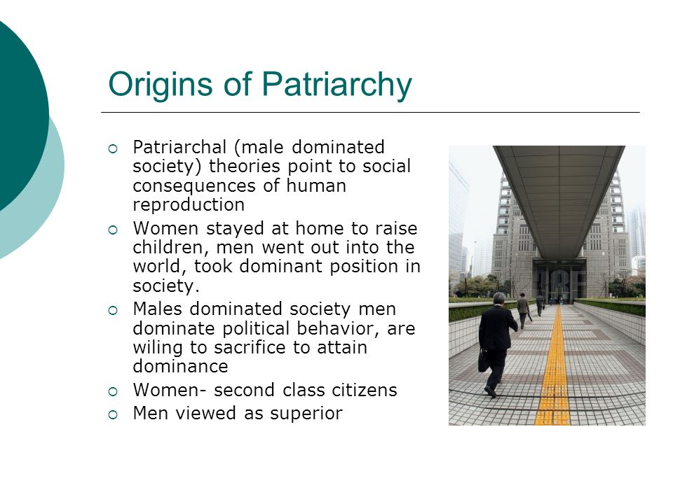 Origins of Patriarchy Patriarchal (male dominated society) theories point to social consequences of human reproduction.