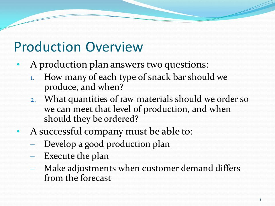 Production Overview A production plan answers two questions: - ppt