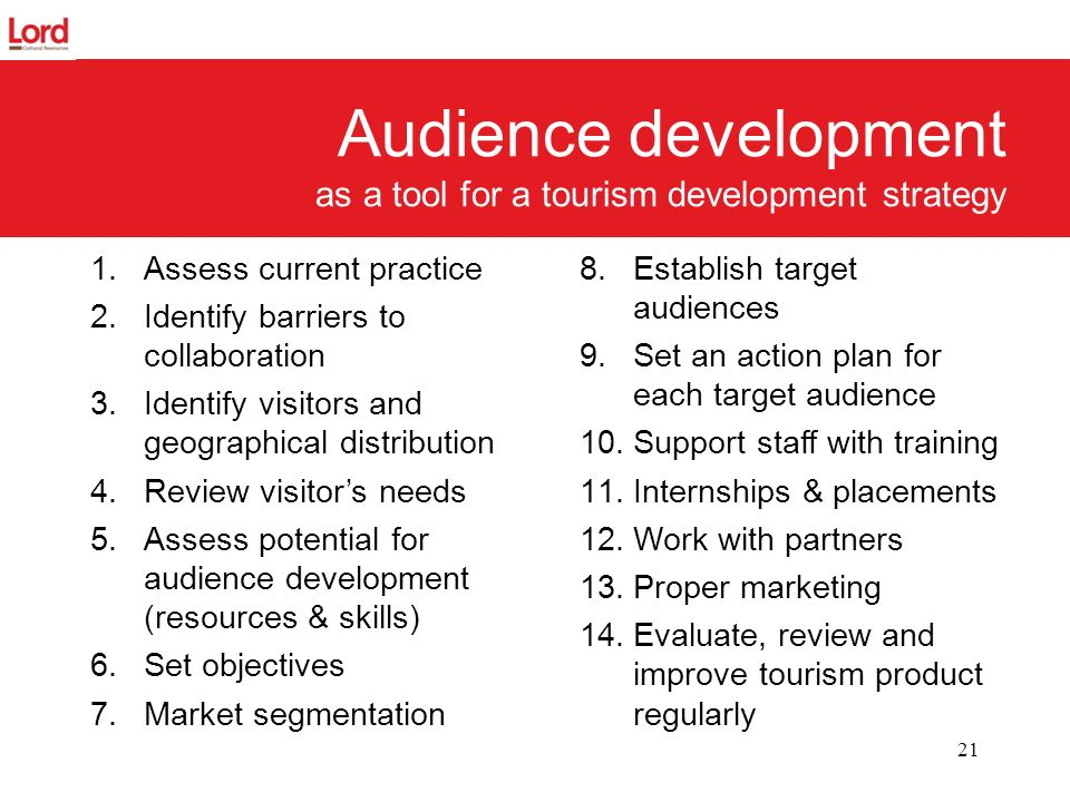 Audience development as a tool for a tourism development strategy