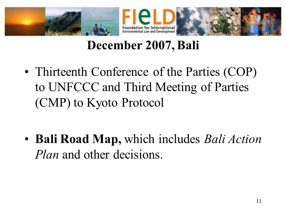 December 2007, Bali Thirteenth Conference of the Parties (COP) to UNFCCC and Third Meeting of Parties (CMP) to Kyoto Protocol.