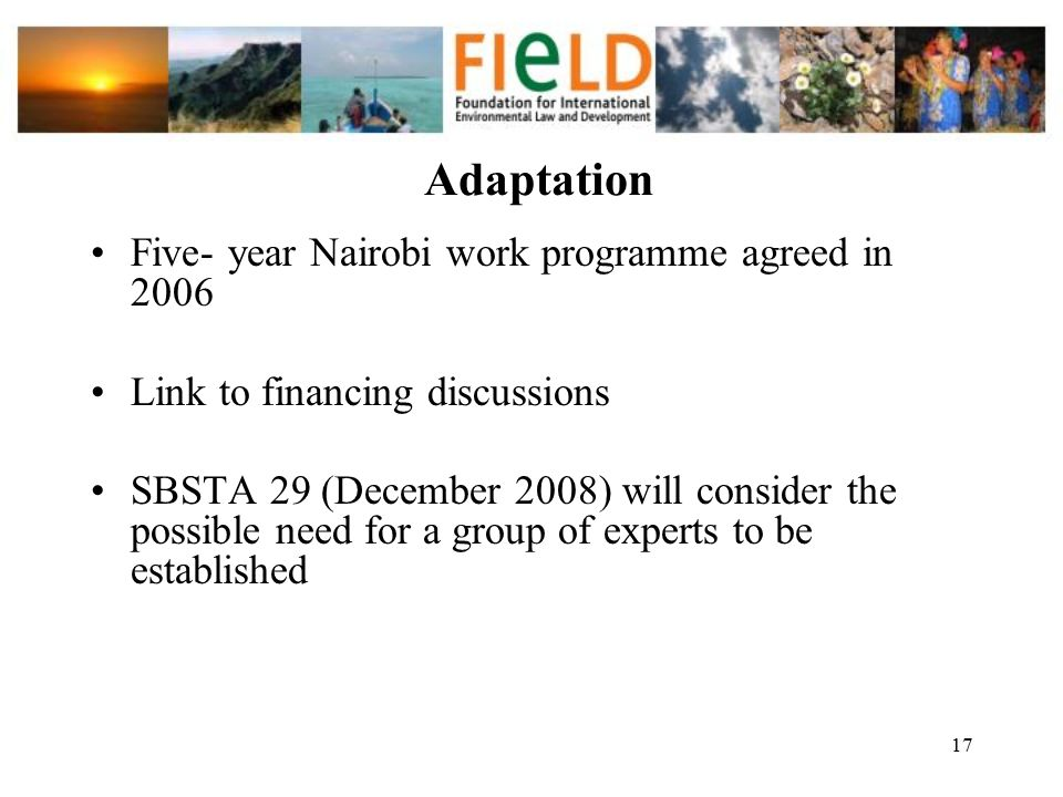 Adaptation Five- year Nairobi work programme agreed in 2006