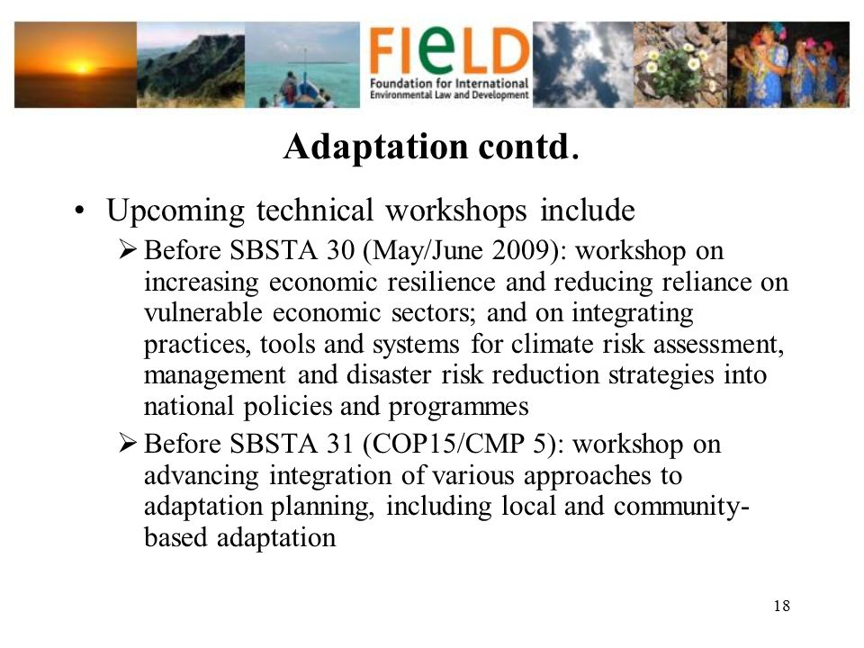 Adaptation contd. Upcoming technical workshops include