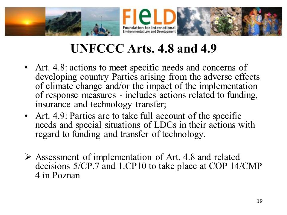 UNFCCC Arts. 4.8 and 4.9