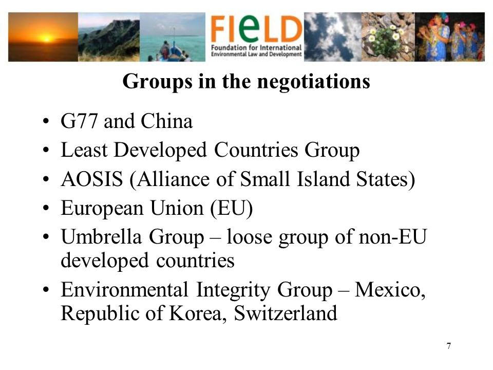 Groups in the negotiations