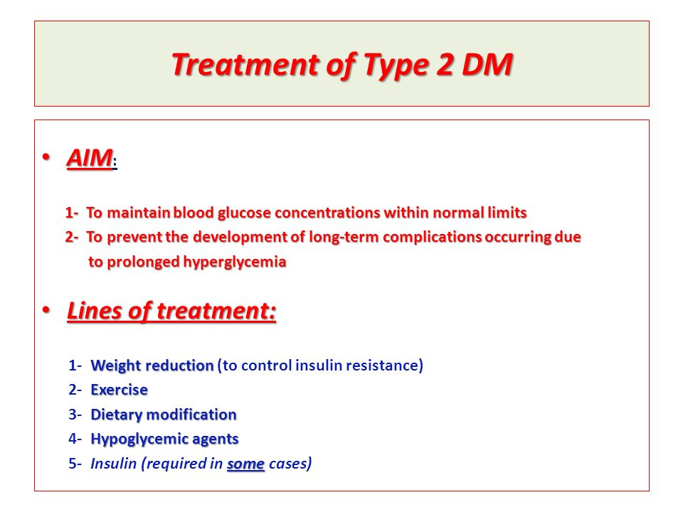 Treatment of Type 2 DM AIM: Lines of treatment:
