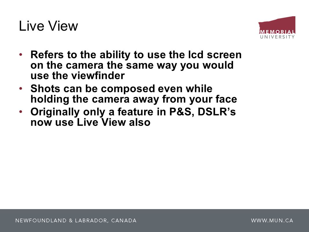 Live View Refers to the ability to use the lcd screen on the camera the same way you would use the viewfinder.