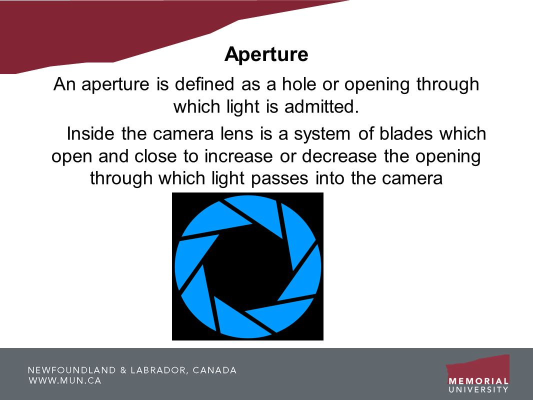 Aperture An aperture is defined as a hole or opening through which light is admitted.