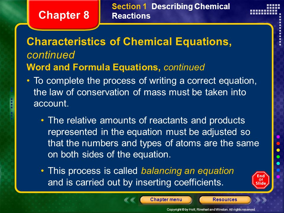 Characteristics of Chemical Equations, continued