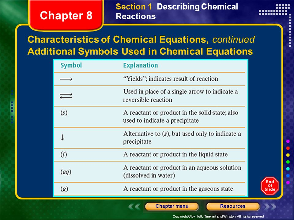 Chapter 8 Characteristics of Chemical Equations, continued
