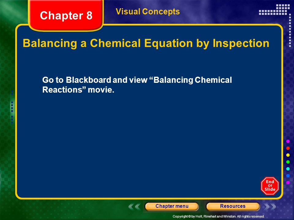 Balancing a Chemical Equation by Inspection