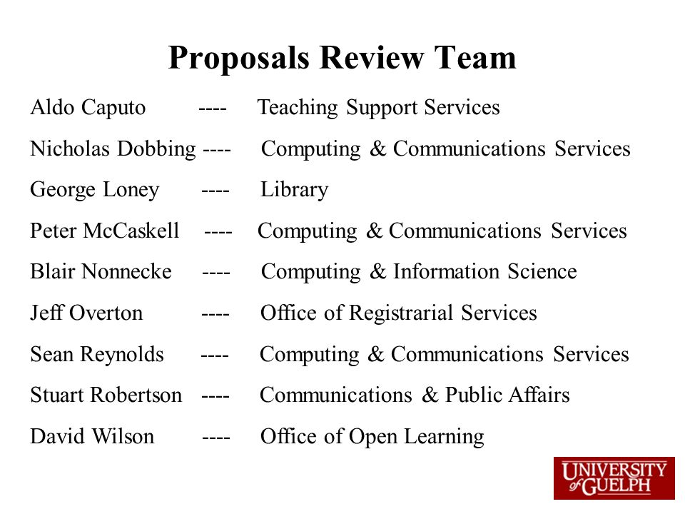Proposals Review Team Aldo Caputo ---- Teaching Support Services