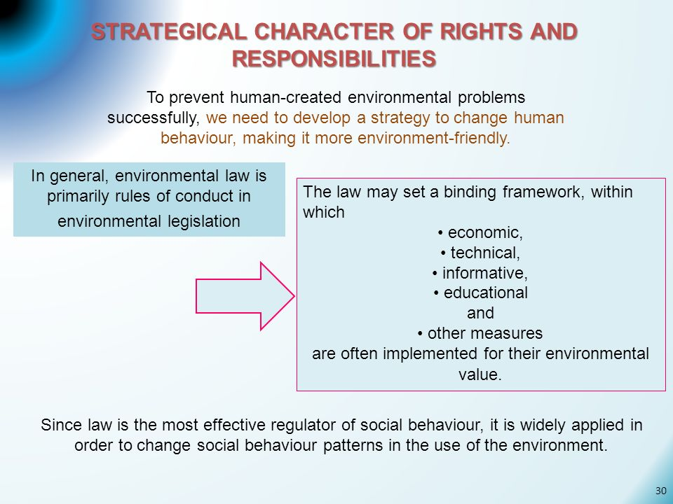 STRATEGICAL CHARACTER OF RIGHTS AND RESPONSIBILITIES