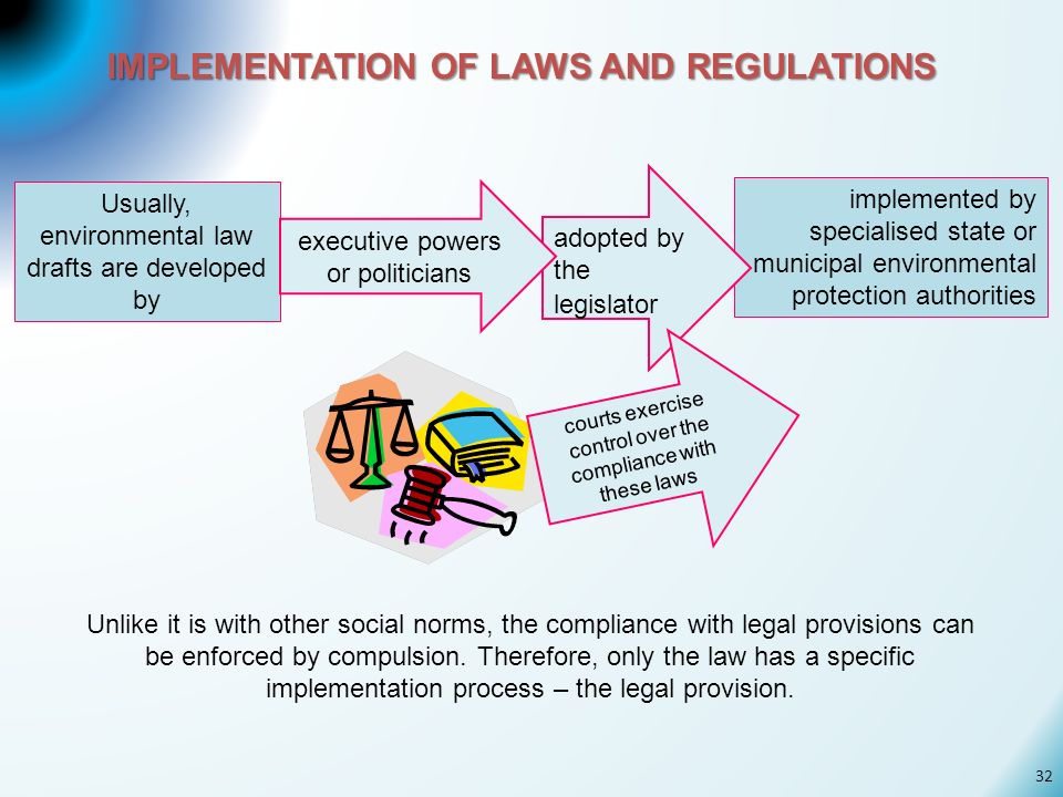 IMPLEMENTATION OF LAWS AND REGULATIONS