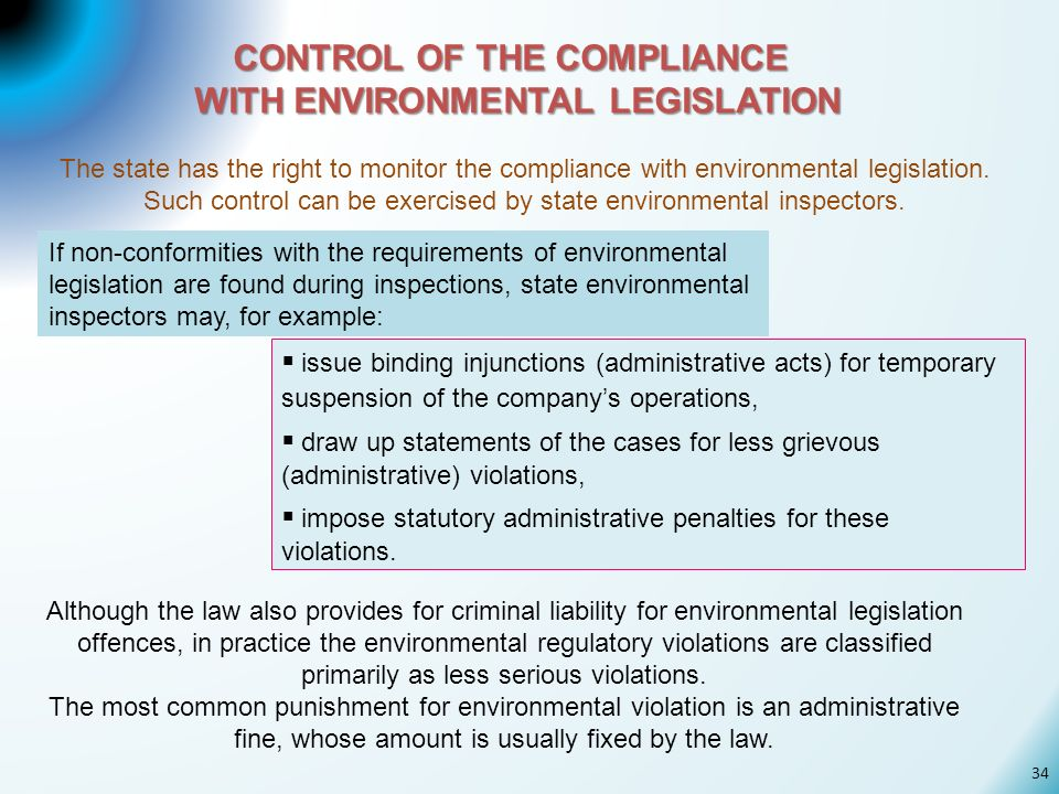 CONTROL OF THE COMPLIANCE WITH ENVIRONMENTAL LEGISLATION