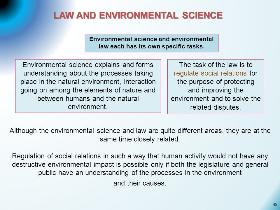 LAW AND ENVIRONMENTAL SCIENCE