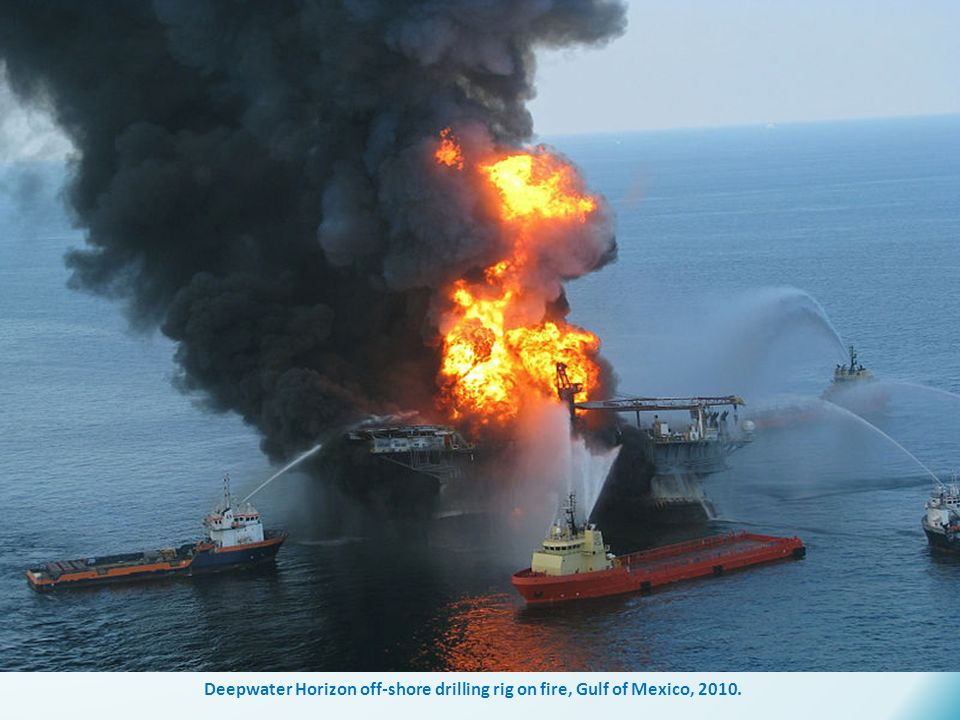 Deepwater Horizon off-shore drilling rig on fire, Gulf of Mexico, 2010.