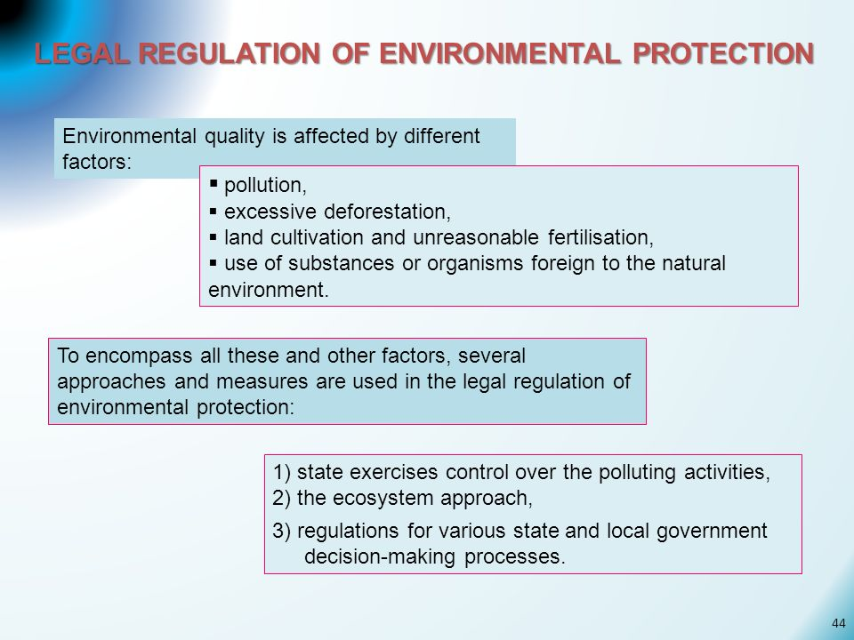 LEGAL REGULATION OF ENVIRONMENTAL PROTECTION